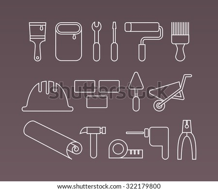 Construction icons, working tools and equipment. Thin Line vector elements. - stock vector