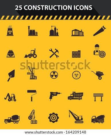 Construction icons,Yellow background version,vector - stock vector