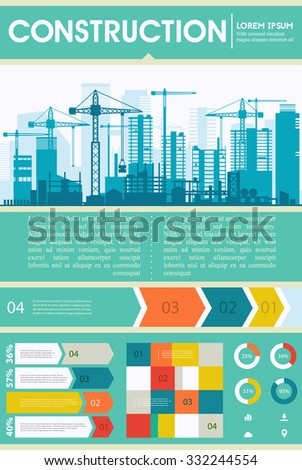 Construction illustration for websites. City skyline construction background with step banners and infographics elements - stock vector