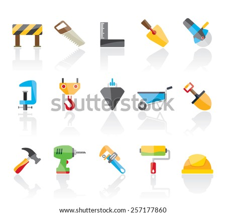 Construction industry and Tools  icons - vector icon set - stock vector