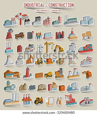 Construction,industry,cargo,shipping icons,sticker,three dimension,vector - stock vector