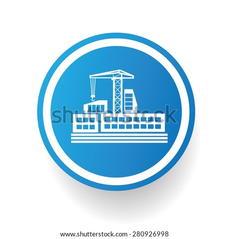 Construction,Industry design icon on blue button,white background,clean vector - stock vector