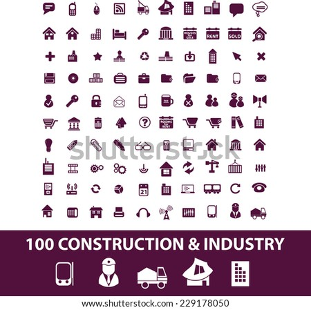 construction, industry isolated icons, signs, illustrations, vectors set on white background - stock vector