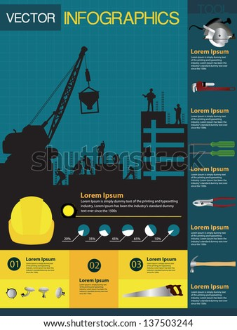 Construction info-graphics containing various icons of tools and houses, Vector illustration modern template design - stock vector
