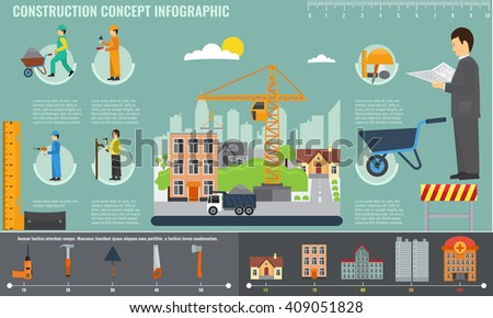 Construction info graphics set with engineer and workers equipment charts. Construction tools, character, sign and icons. Modern, solid, flat color design. - stock vector