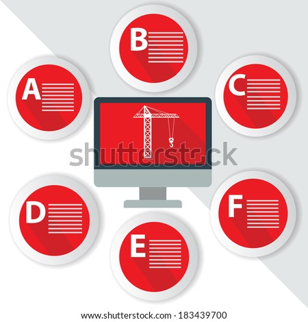 Construction Infographics,for text,Red vector - stock vector