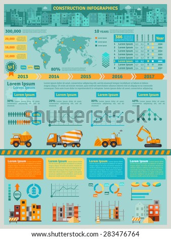 Construction infographics set with building machines symbols and charts vector illustration - stock vector