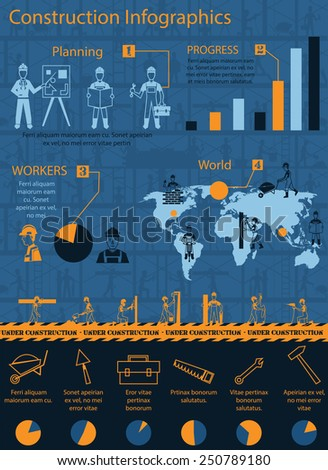 Construction infographics set with engineer and workers equipment charts and world map vector illustration - stock vector