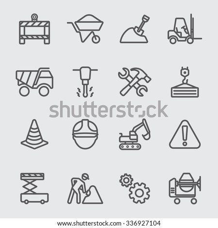 Construction line icon - stock vector