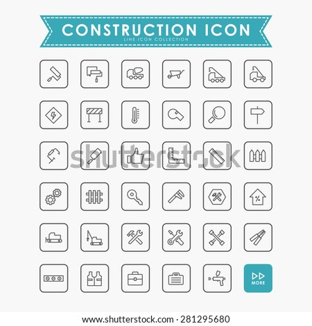 construction line icons - stock vector