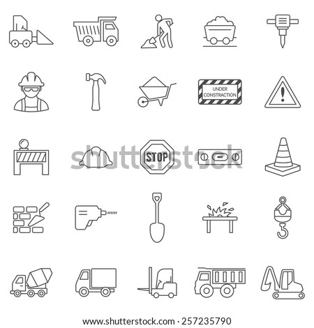Construction line icons set.Vector - stock vector