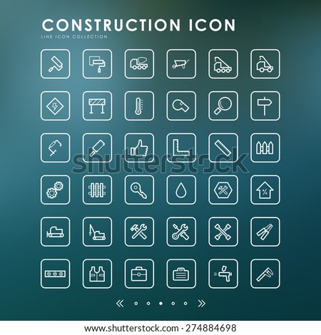 construction line icons with blur background - stock vector