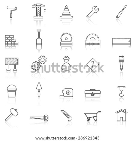 Construction line icons with reflect on white, stock vector