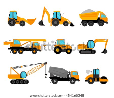 Construction machinery and building construction equipment icons on white background. Vector illustration