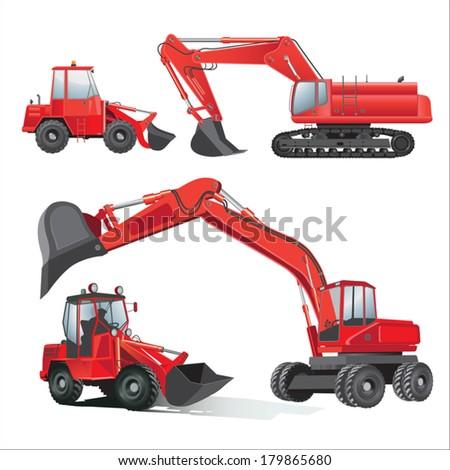Construction machinery equipment . Vector illustration - stock vector