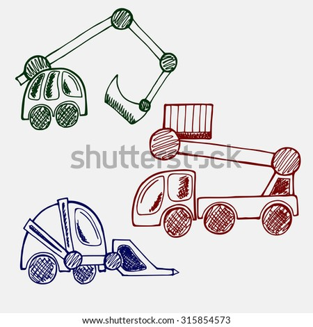 Construction Machinery hand drawn doodle set. line art of three cars excavator, wheel loader, aerial work platform