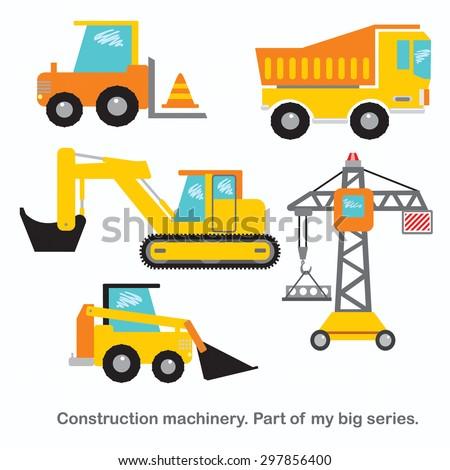 Construction machinery vector set.  - stock vector