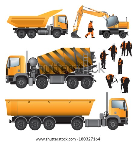 Construction machines and workers. Concrete mixer, excavator and trucks. Vector illustration. - stock vector