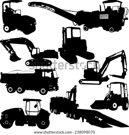 construction machines collection silhouettes - vector - stock vector