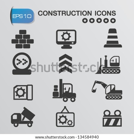 Construction machines icons,vector - stock vector