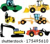 construction machines - vector - stock