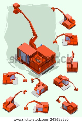 Construction Machines vector Set. crawler with several position - stock vector