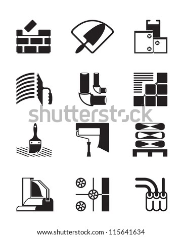 Construction materials and tools - vector illustration - stock vector