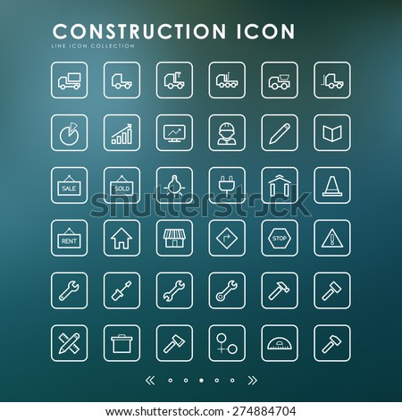 construction minimal line icons with blur background - stock vector