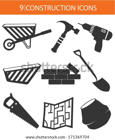 Construction objects,Black version,on white background - stock vector