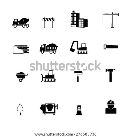 Construction objects icons set vector - stock vector