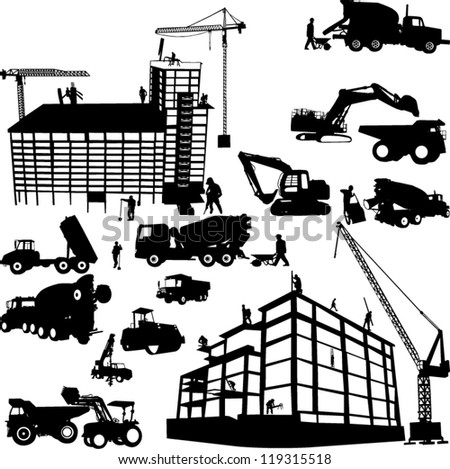 construction objects vector 1 (crane - worker - building - skimmer) - stock vector