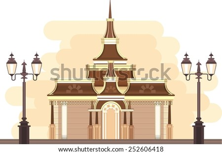 construction of a park or near the gazebo lights done an evening city, in retro style in two colors - stock vector
