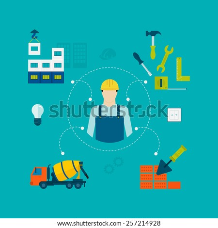 Construction of Building. Concept Vector Illustration in flat style design. Icon man builder - stock vector