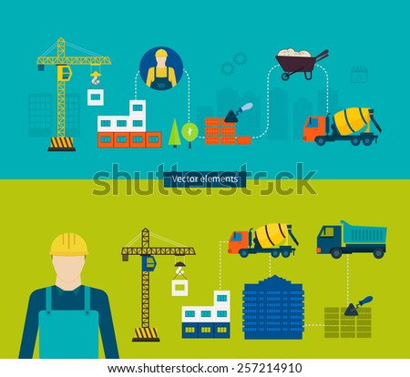 Construction of Building. Concept Vector Illustration in flat style design. Real estate concept illustration. - stock vector