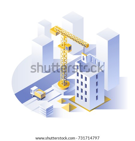 Construction of residential houses. Crane and construction machinery near the construction site. City concept design. Isometric style vector illustration.