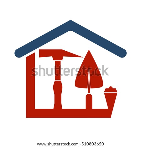 Construction of the house with a tool for business symbol