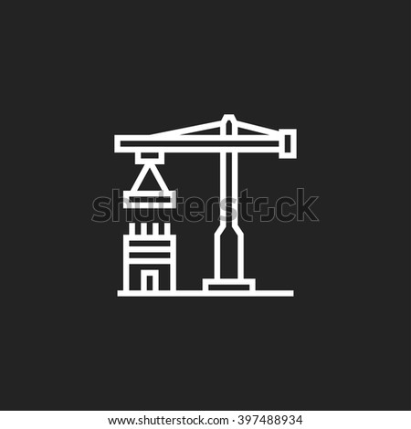 Construction Outline Icon White on Black Background - stock vector