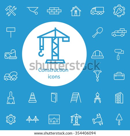 construction outline, thin, flat, digital icon set for web and mobile - stock vector