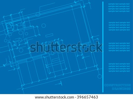 Construction Plan. Architectural background. Engineering Cover, blue background for labels for your design