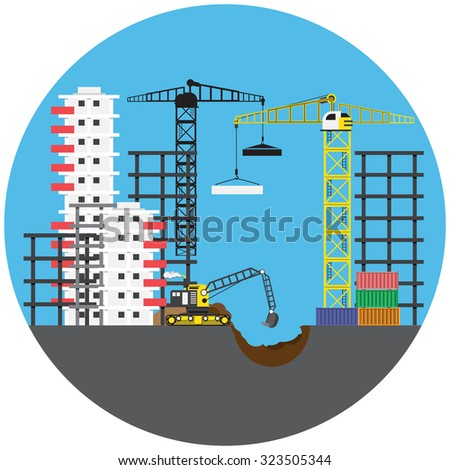 Construction project with building crane, vector illustration - stock vector