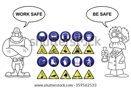 Construction related mandatory & hazards icons and signs isolated on white background with work safe be safe message