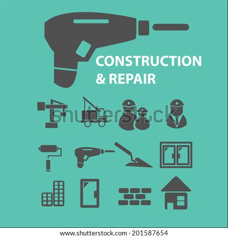 construction, repair icons, signs set, vector - stock vector