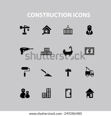 construction, repair, room, house, door icons, signs, illustrations set, vector - stock vector