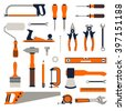 Construction repair tools flat icon set. tools home repair set. Isolated tools flat set. - stock vector