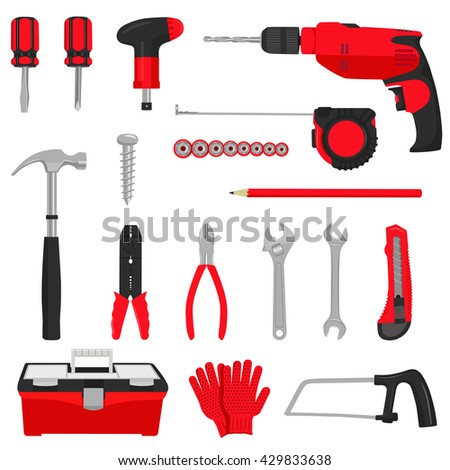 Construction repair tools icons set isolated on white background. Colored flat vector illustration