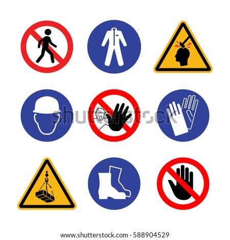 Construction Safety Danger Sign Set Wear Stock Vector 588904529