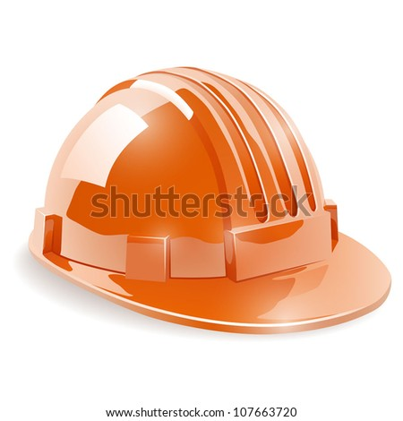 Construction safety helmet isolated on white background vector illustration. - stock vector