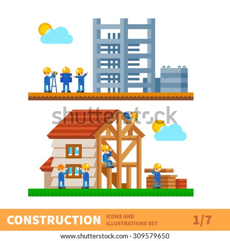 Construction set. Process of building the house. Engineering measured, architectural work, builders make a house. Vector flat illustration  - stock vector