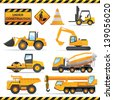 Construction set. Vector vehicles and tractors. - stock