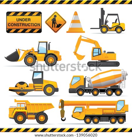 Construction set. Vector vehicles and tractors. - stock vector